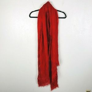 Zara Orange Fringe Trim Scarf
